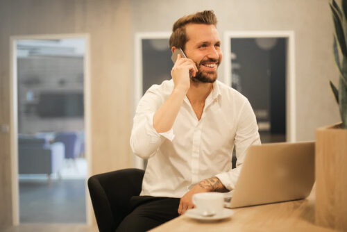guy taking phone call